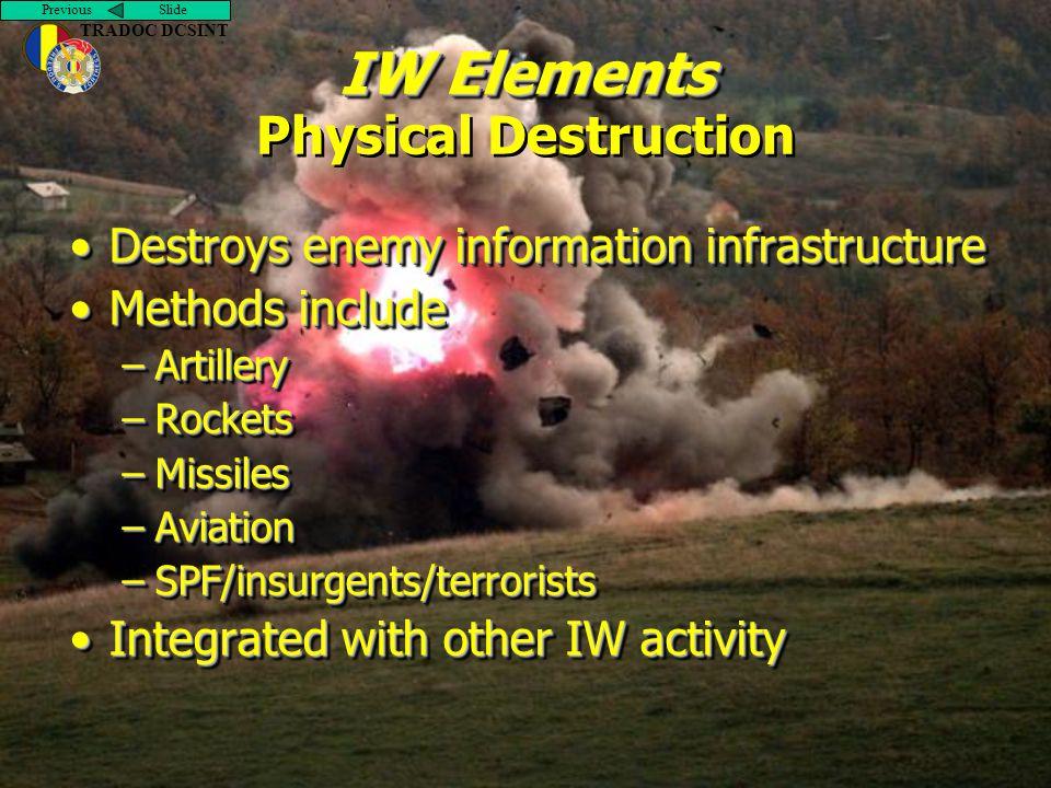 Previous Slide TRADOC DCSINT IW Elements IW Elements Physical Destruction Destroys enemy information infrastructureDestroys enemy information infrastr