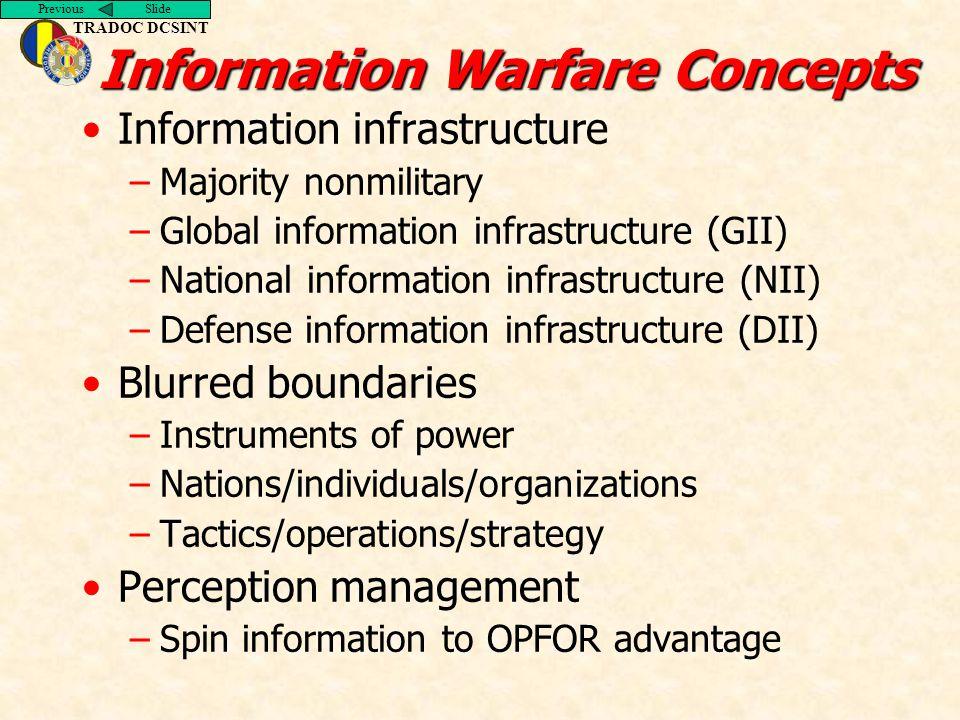 Previous Slide TRADOC DCSINT Information Warfare Concepts Information infrastructure –Majority nonmilitary –Global information infrastructure (GII) –N