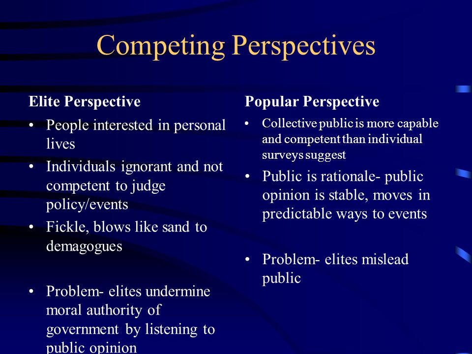 Competing Perspectives Elite Perspective People interested in personal lives Individuals ignorant and not competent to judge policy/events Fickle, blows like sand to demagogues Problem- elites undermine moral authority of government by listening to public opinion Popular Perspective Collective public is more capable and competent than individual surveys suggest Public is rationale- public opinion is stable, moves in predictable ways to events Problem- elites mislead public