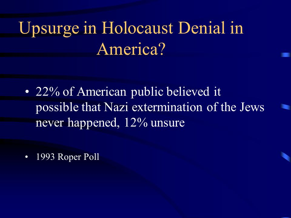 Upsurge in Holocaust Denial in America.