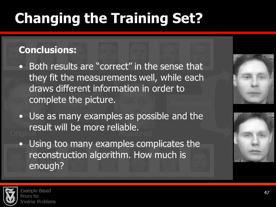 Example-Based Priors for Inverse Problems 47 Changing the Training Set.