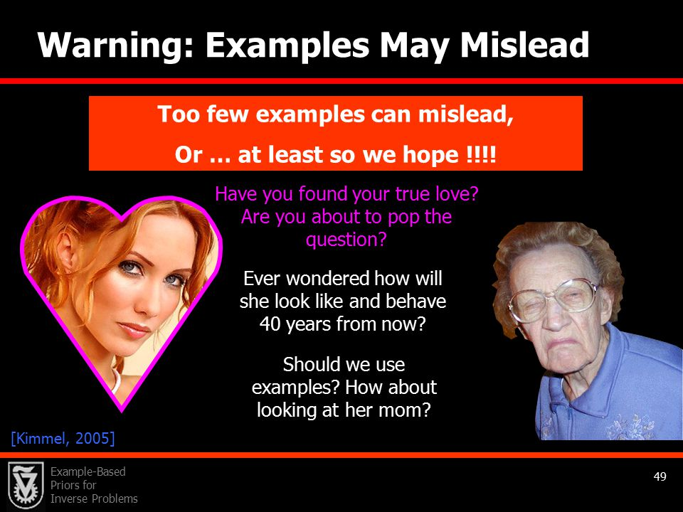 Example-Based Priors for Inverse Problems 49 Warning: Examples May Mislead Using too few examples can mislead sometimes!.