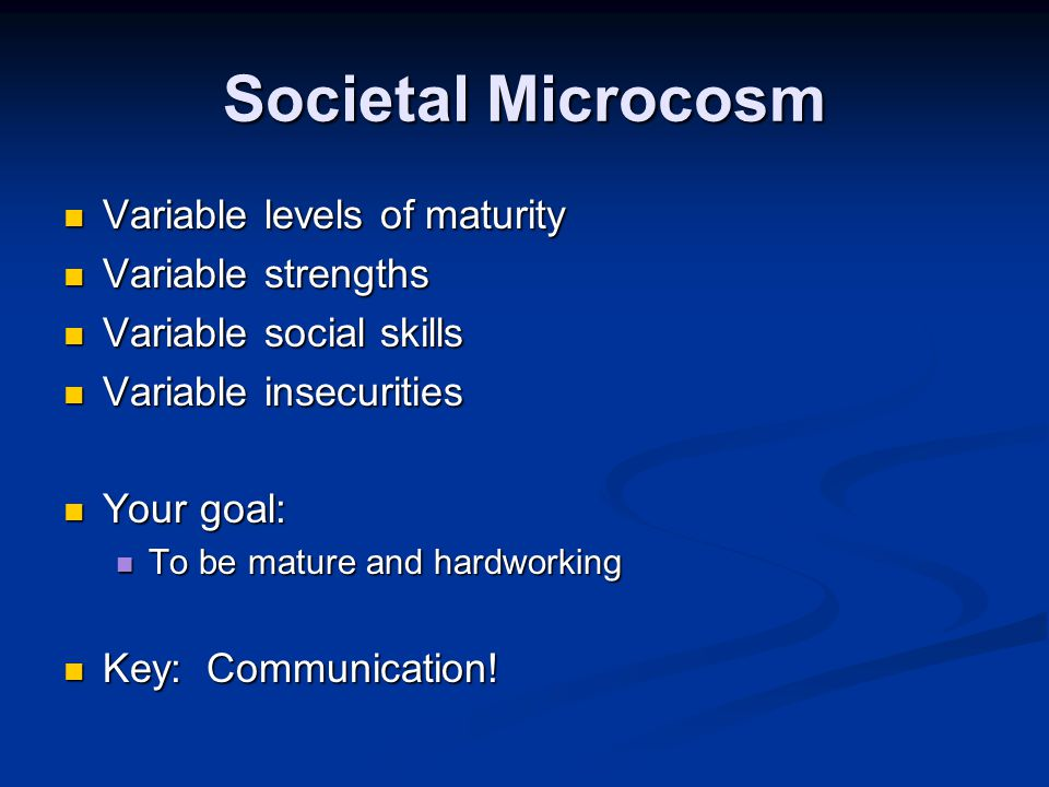 Societal Microcosm Variable levels of maturity Variable levels of maturity Variable strengths Variable strengths Variable social skills Variable social skills Variable insecurities Variable insecurities Your goal: Your goal: To be mature and hardworking To be mature and hardworking Key: Communication.