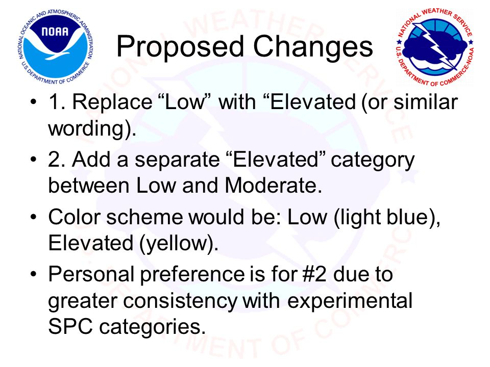 Proposed Changes 1. Replace Low with Elevated (or similar wording).