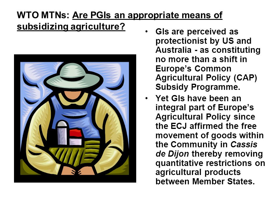 WTO MTNs: Are PGIs an appropriate means of subsidizing agriculture.