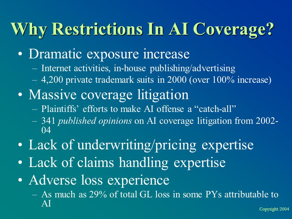 Copyright 2004 Why Restrictions In AI Coverage? Dramatic exposure increase –Internet activities, in-house publishing/advertising –4,200 private tradem