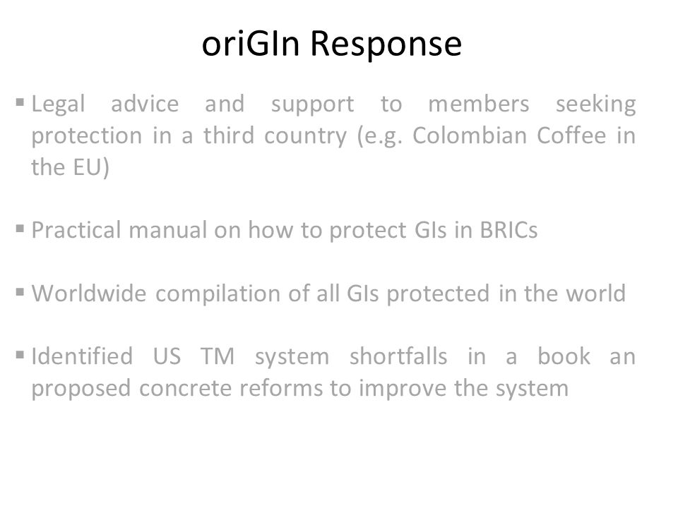 oriGIn Response  Legal advice and support to members seeking protection in a third country (e.g.