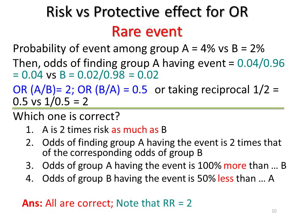 Risk vs Protective effect for OR Rare event Probability of event among group A = 4% vs B = 2% Then, odds of finding group A having event = 0.04/0.96 =