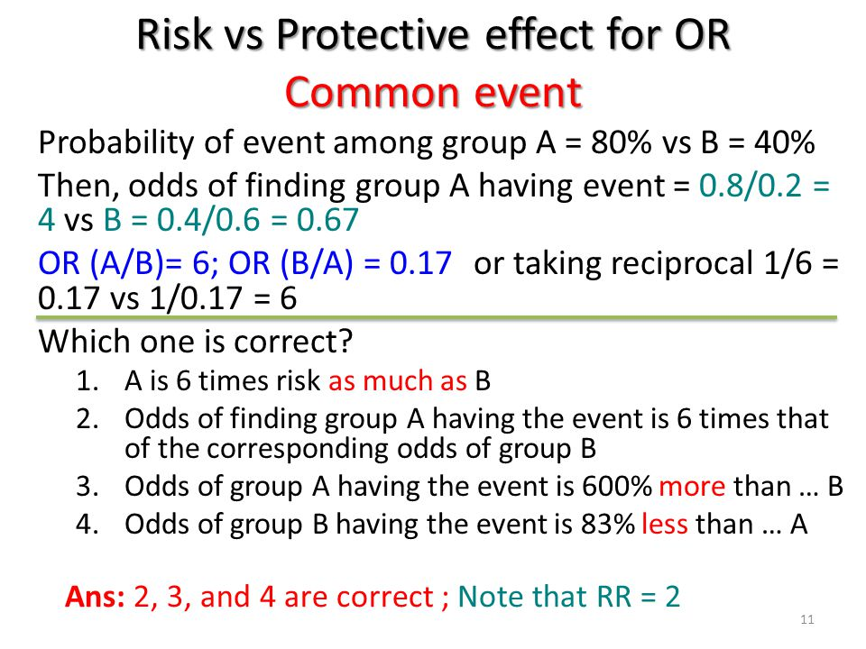 Risk vs Protective effect for OR Common event Probability of event among group A = 80% vs B = 40% Then, odds of finding group A having event = 0.8/0.2