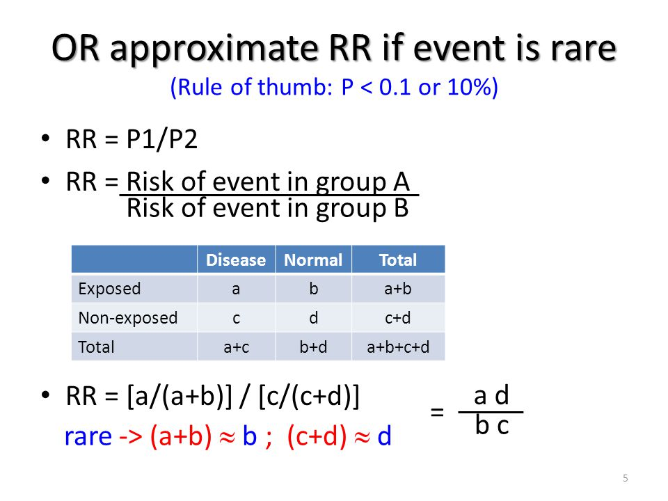 Interpretation of relative risk (RR) RR = 1 means there is no difference in risk between the two groups.