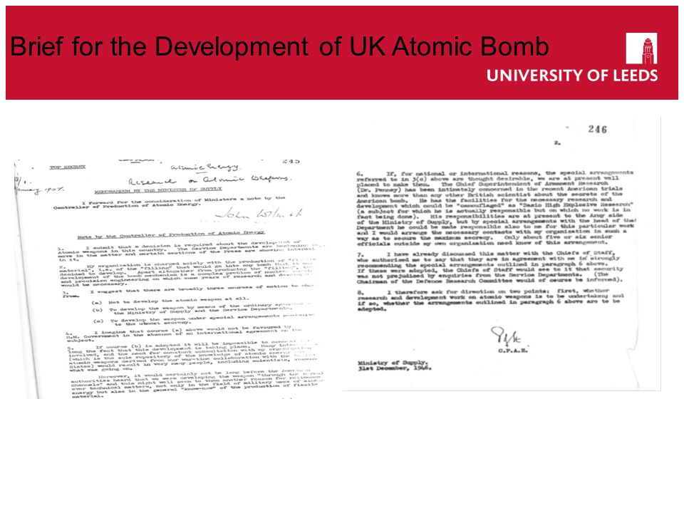 Brief for the Development of UK Atomic Bomb