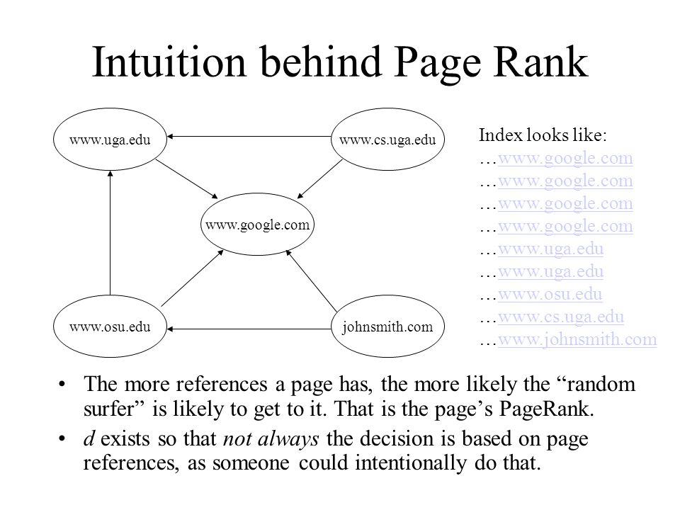 Intuition behind Page Rank www.google.com www.uga.eduwww.cs.uga.edu www.osu.edujohnsmith.com Index looks like: …www.google.comwww.google.com …www.google.comwww.google.com …www.google.comwww.google.com …www.google.comwww.google.com …www.uga.eduwww.uga.edu …www.uga.eduwww.uga.edu …www.osu.eduwww.osu.edu …www.cs.uga.eduwww.cs.uga.edu …www.johnsmith.comwww.johnsmith.com The more references a page has, the more likely the random surfer is likely to get to it.