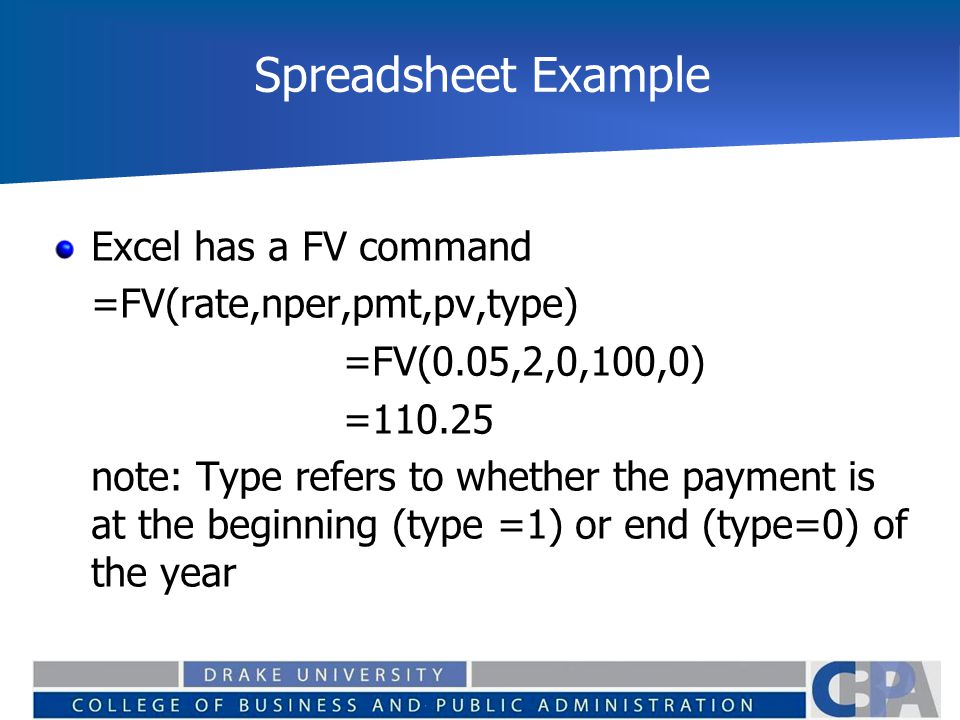 Spreadsheet Example Excel has a FV command =FV(rate,nper,pmt,pv,type) =FV(0.05,2,0,100,0) =110.25 note: Type refers to whether the payment is at the b