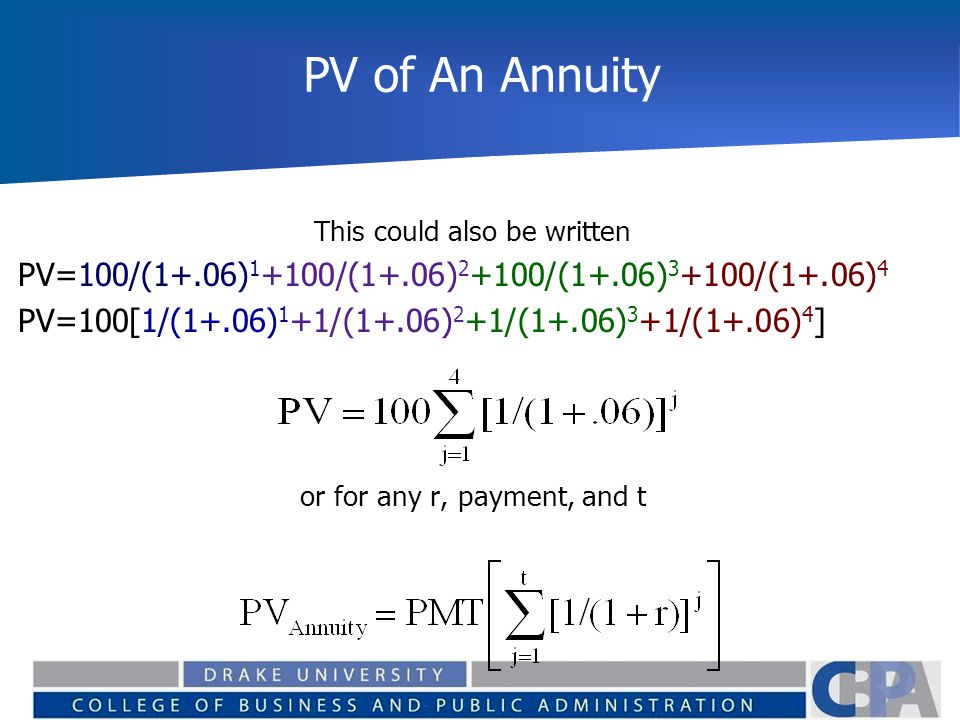 PV of An Annuity This could also be written PV=100/(1+.06) 1 +100/(1+.06) 2 +100/(1+.06) 3 +100/(1+.06) 4 PV=100[1/(1+.06) 1 +1/(1+.06) 2 +1/(1+.06) 3