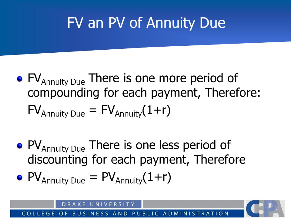 FV an PV of Annuity Due FV Annuity Due There is one more period of compounding for each payment, Therefore: FV Annuity Due = FV Annuity (1+r) PV Annui