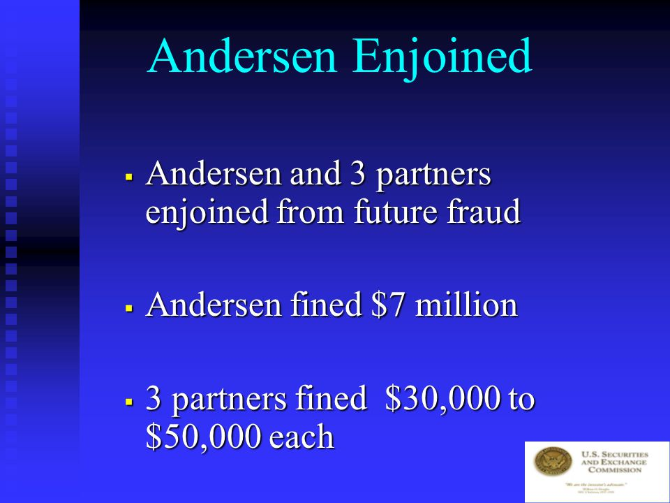 Andersen – WMI The Underlying Fraud From 1992 to 1996, Waste Management overstates earnings by $1.43 billion and understates taxes by $178 million From 1992 to 1996, Waste Management overstates earnings by $1.43 billion and understates taxes by $178 million