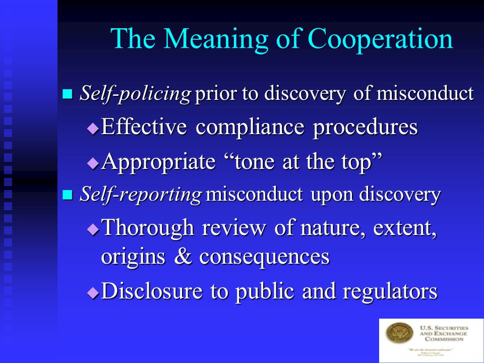 Four Principles Self-policing Self-policing Self-reporting Self-reporting Remediation Remediation Cooperation Cooperation