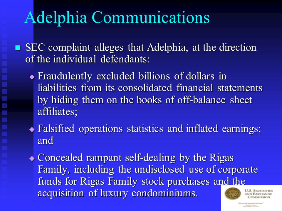 Adelphia Communications Commission filed charges against Adelphia, its founder (John J.