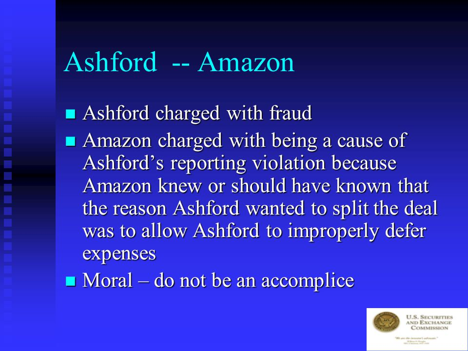 Accommodations: Ashford -- Amazon Resolve dispute Resolve dispute Amazon will pay $600,000 to Ashford Amazon will pay $600,000 to Ashford Ashford will credit Amazon with providing 11,500 customers Ashford will credit Amazon with providing 11,500 customers Ashford asks Amazon to split the deal into two letters, one referring to 3000 customers and another for the balance Ashford asks Amazon to split the deal into two letters, one referring to 3000 customers and another for the balance
