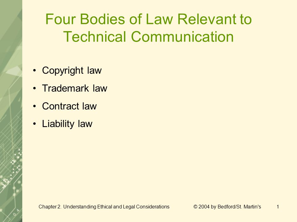 Chapter 2. Understanding Ethical and Legal Considerations © 2004 by Bedford/St. Martin's1 Four Bodies of Law Relevant to Technical Communication Copyr