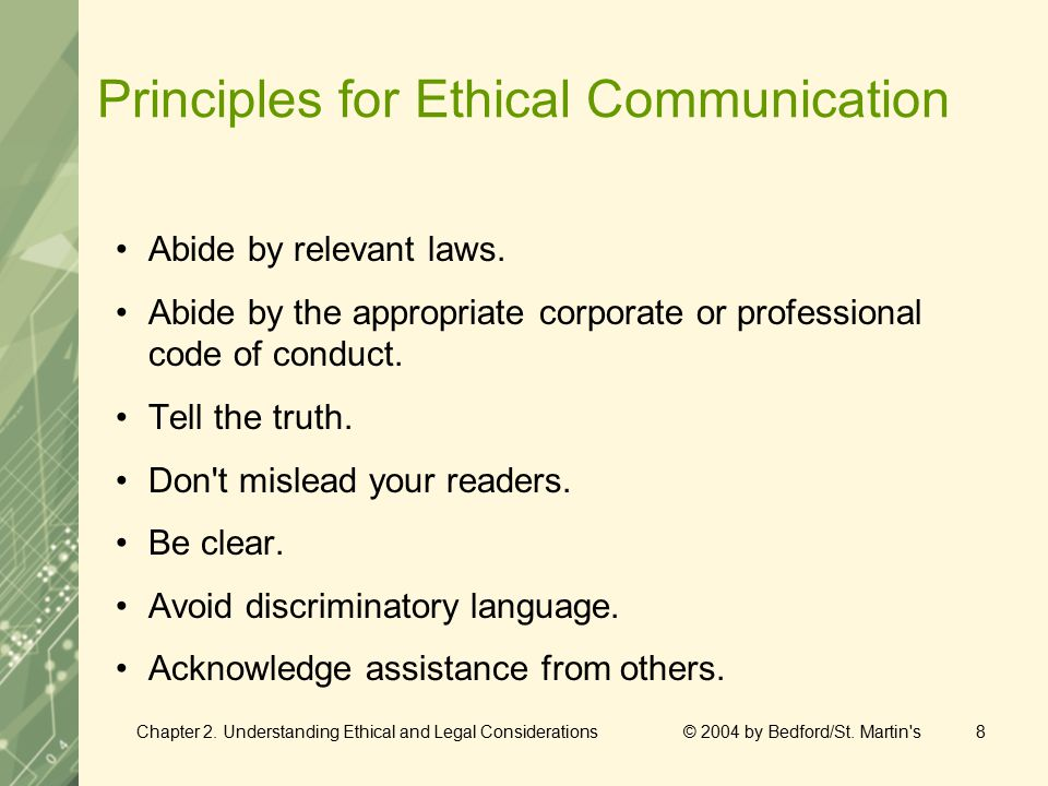 Chapter 2. Understanding Ethical and Legal Considerations © 2004 by Bedford/St.