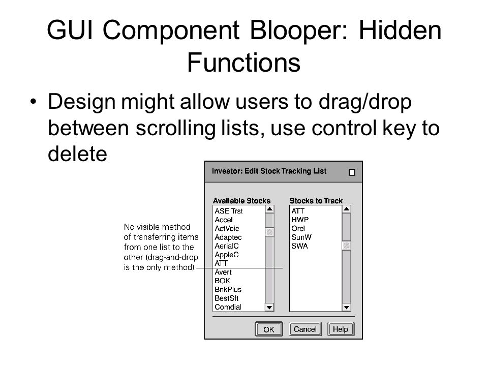 GUI Component Blooper: Hidden Functions Design might allow users to drag/drop between scrolling lists, use control key to delete