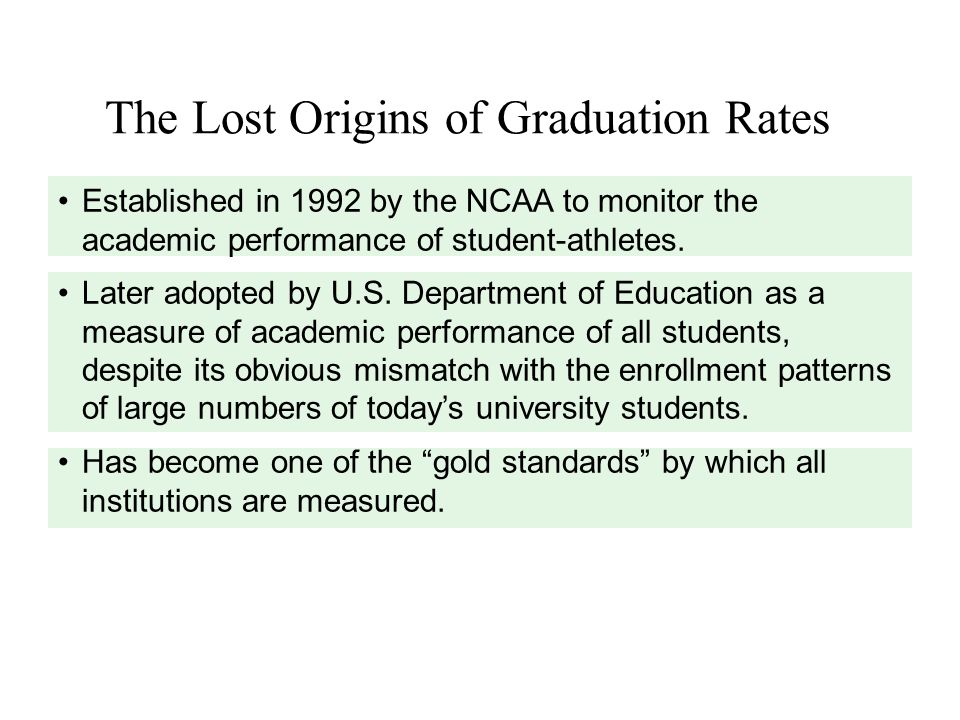The Lost Origins of Graduation Rates Established in 1992 by the NCAA to monitor the academic performance of student-athletes.