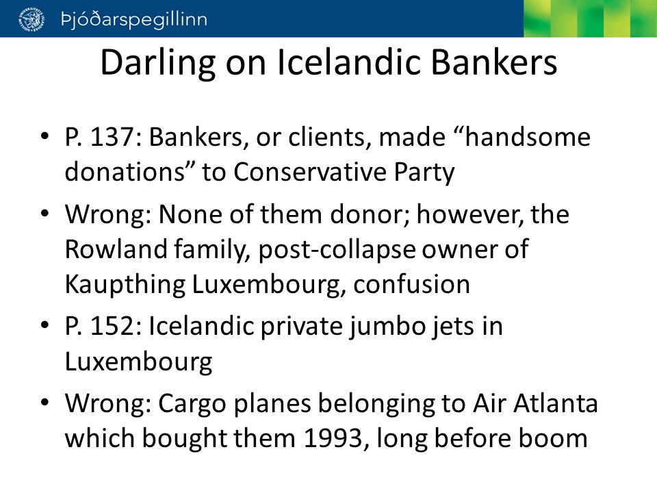 Darling on Icelandic Bankers P.