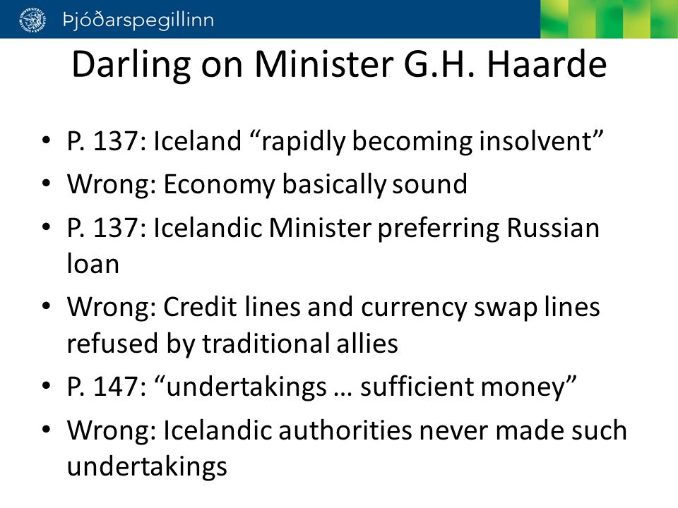 Darling on Minister G.H. Haarde P.