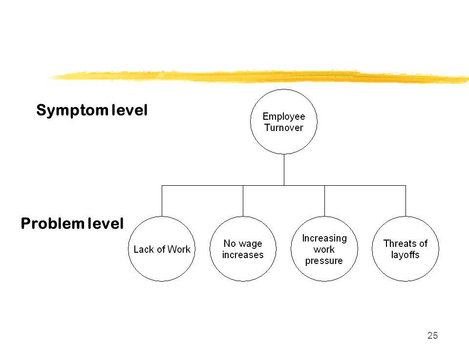 25 Symptom level Problem level