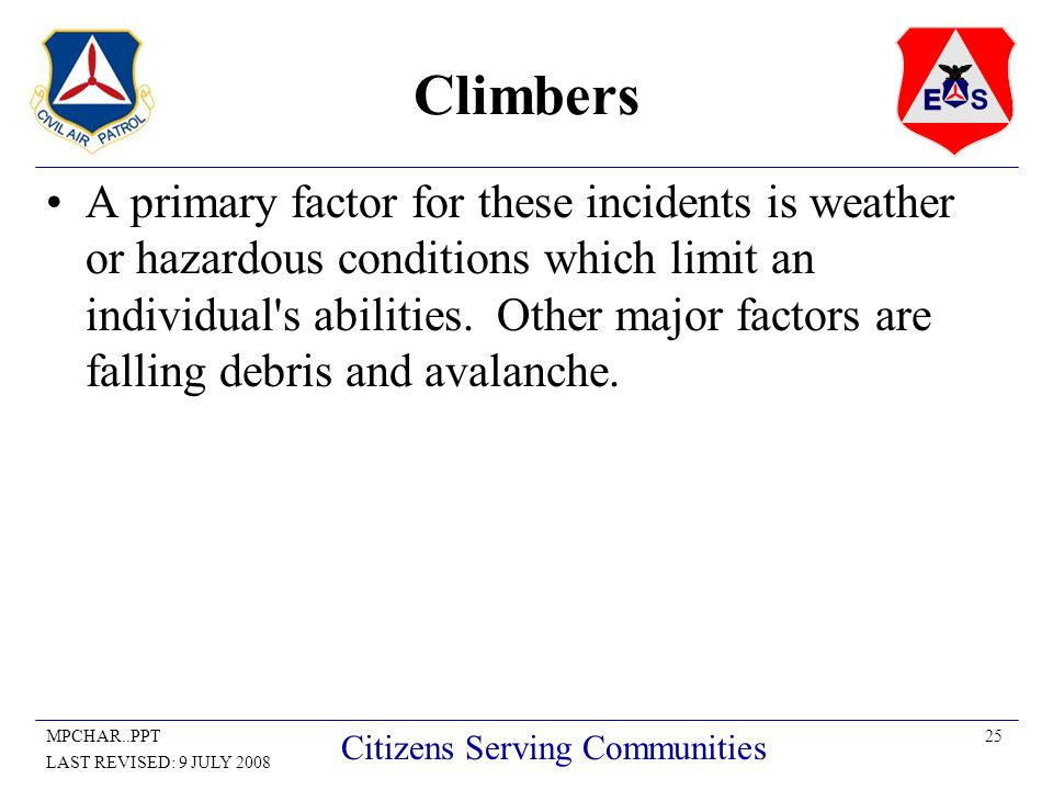 25MPCHAR..PPT LAST REVISED: 9 JULY 2008 Citizens Serving Communities Climbers A primary factor for these incidents is weather or hazardous conditions