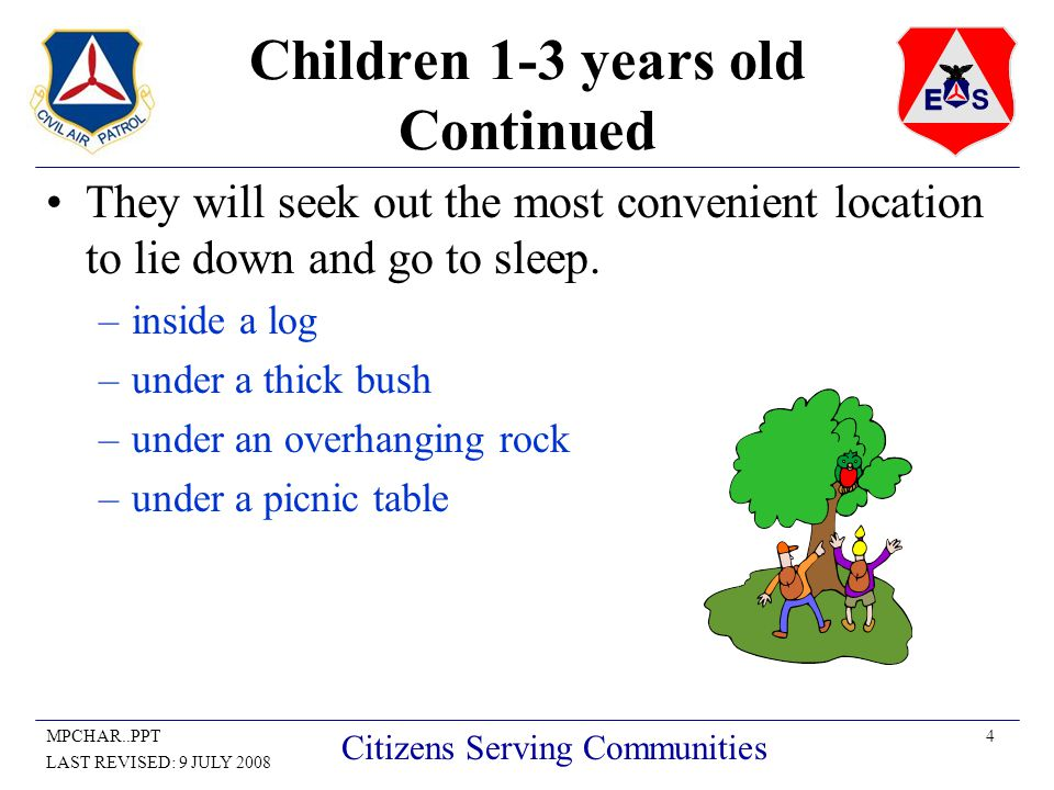 5MPCHAR..PPT LAST REVISED: 9 JULY 2008 Citizens Serving Communities Children 3-6 years old These children are more mobile and capable of going further than those in the one to three year- old category.