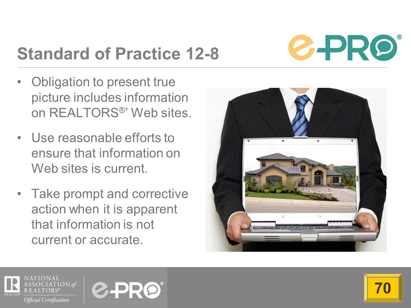Standard of Practice 12-8 Obligation to present true picture includes information on REALTORS ® ' Web sites.