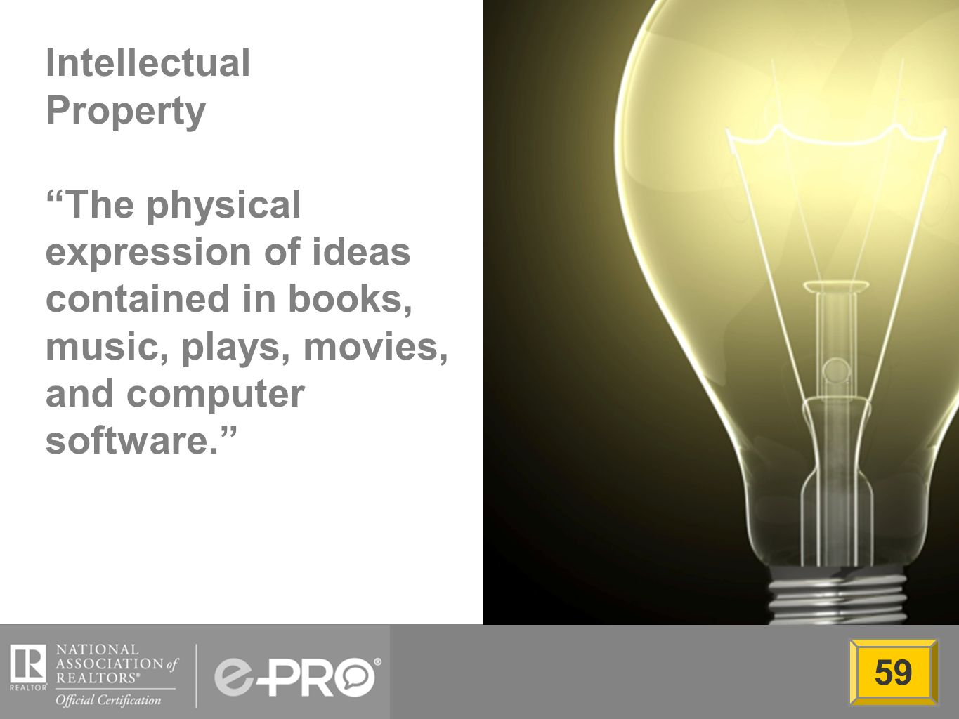 Intellectual Property The physical expression of ideas contained in books, music, plays, movies, and computer software. 59