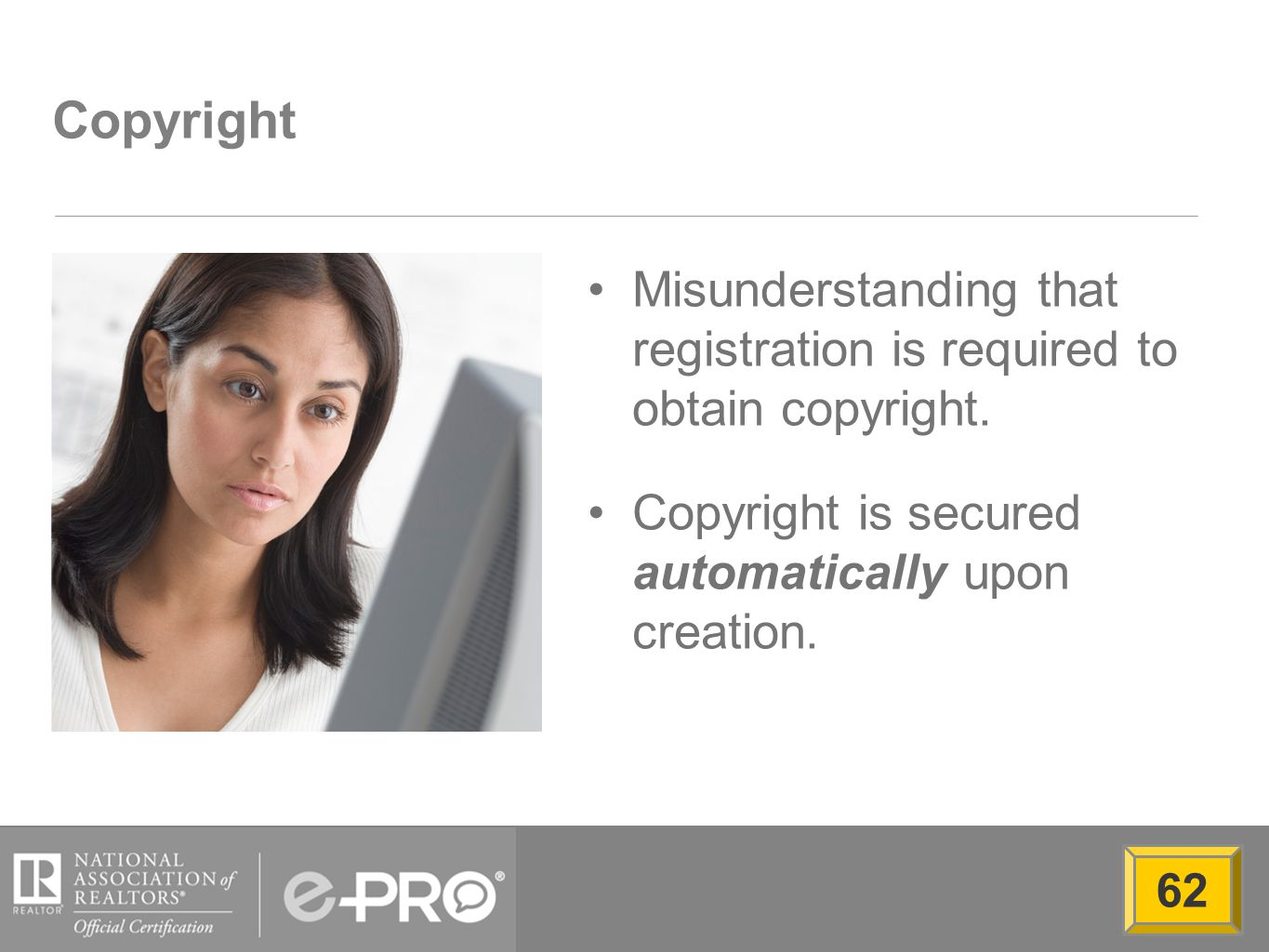 Copyright Misunderstanding that registration is required to obtain copyright.