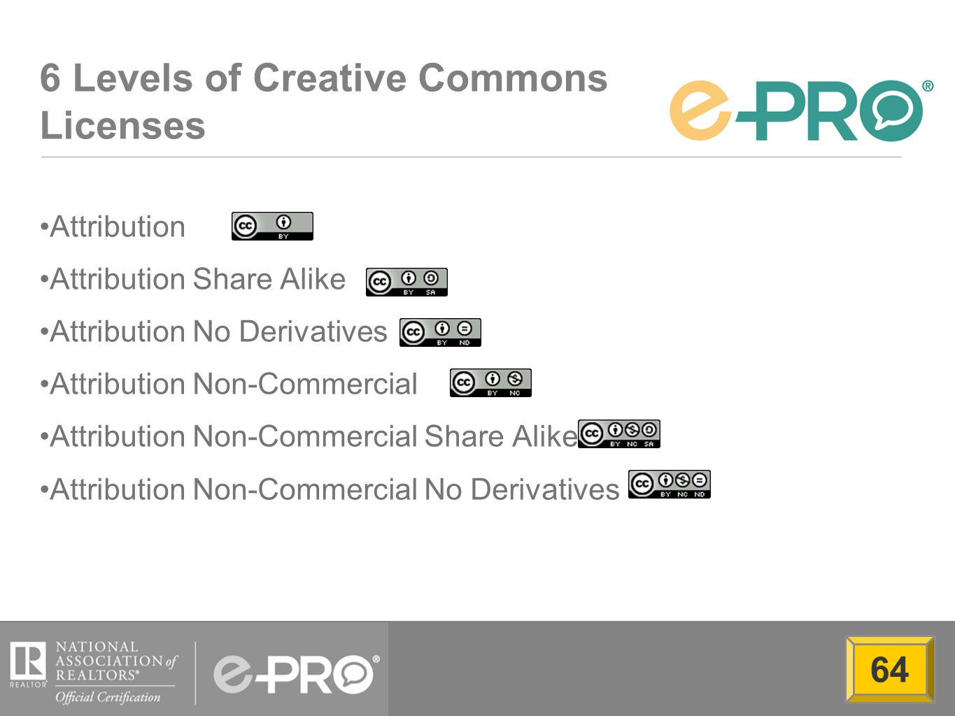 6 Levels of Creative Commons Licenses Attribution Attribution Share Alike Attribution No Derivatives Attribution Non-Commercial Attribution Non-Commercial Share Alike Attribution Non-Commercial No Derivatives 64