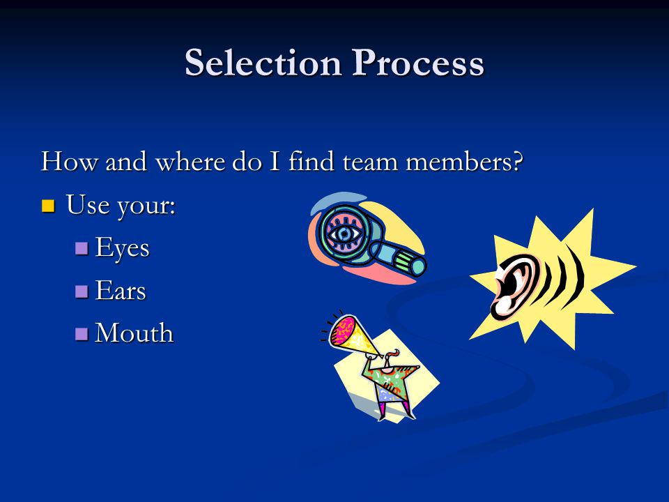 Selection Process How and where do I find team members.