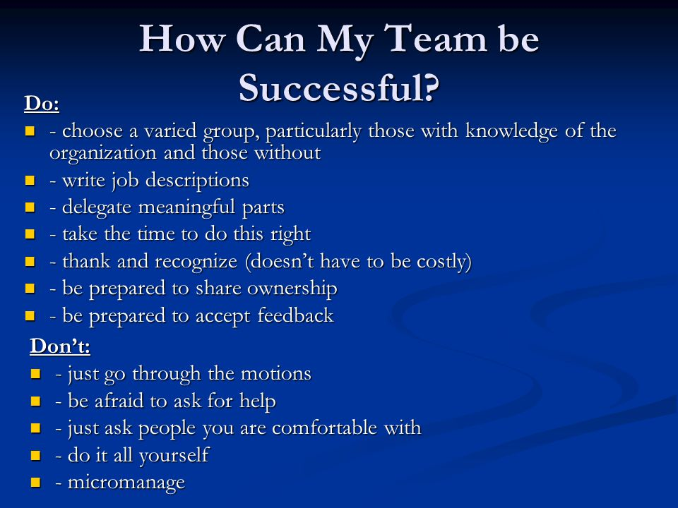 How Can My Team be Successful.