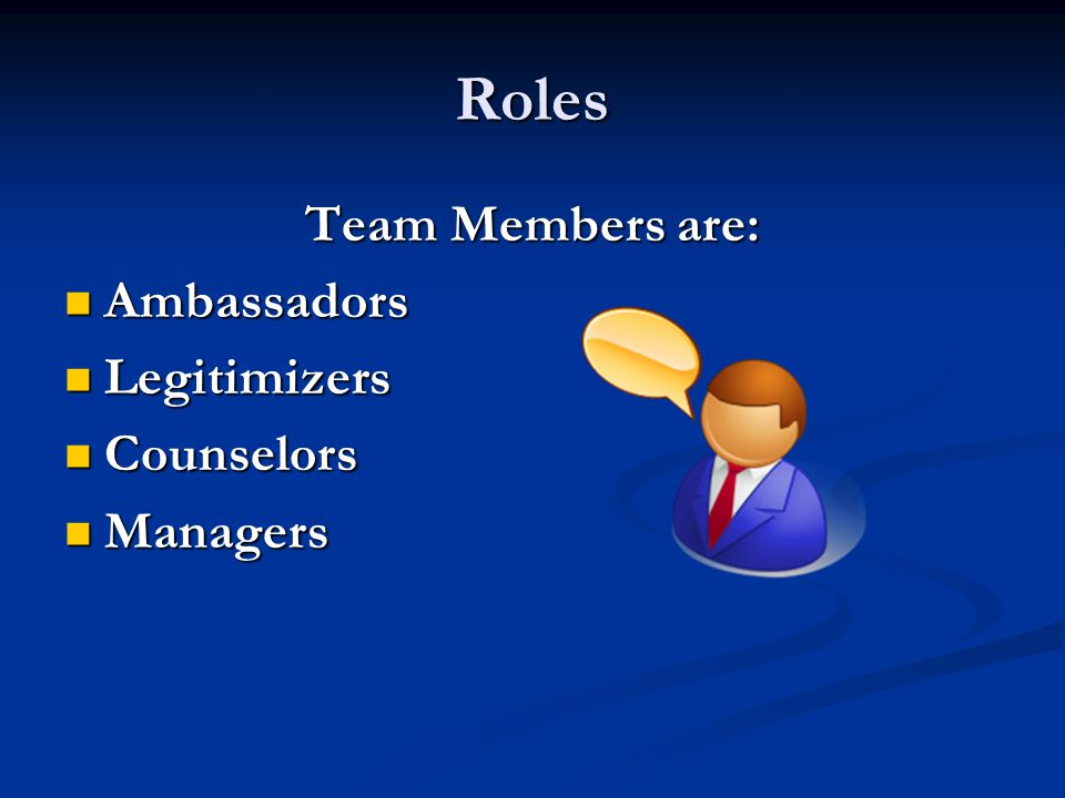 Roles Team Members are: Ambassadors Ambassadors Legitimizers Legitimizers Counselors Counselors Managers Managers