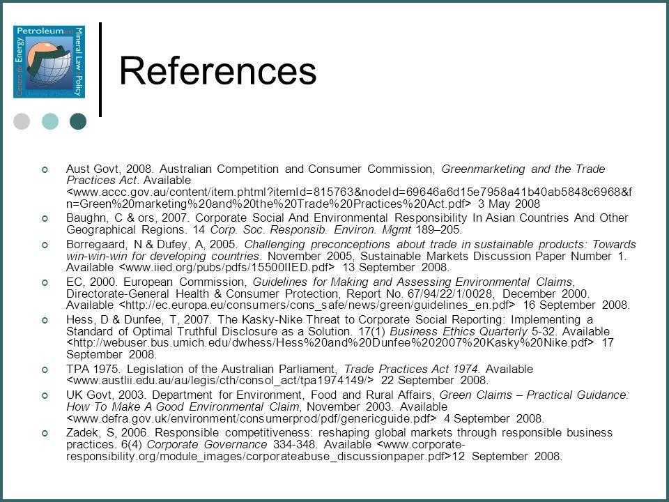 References Aust Govt, 2008.