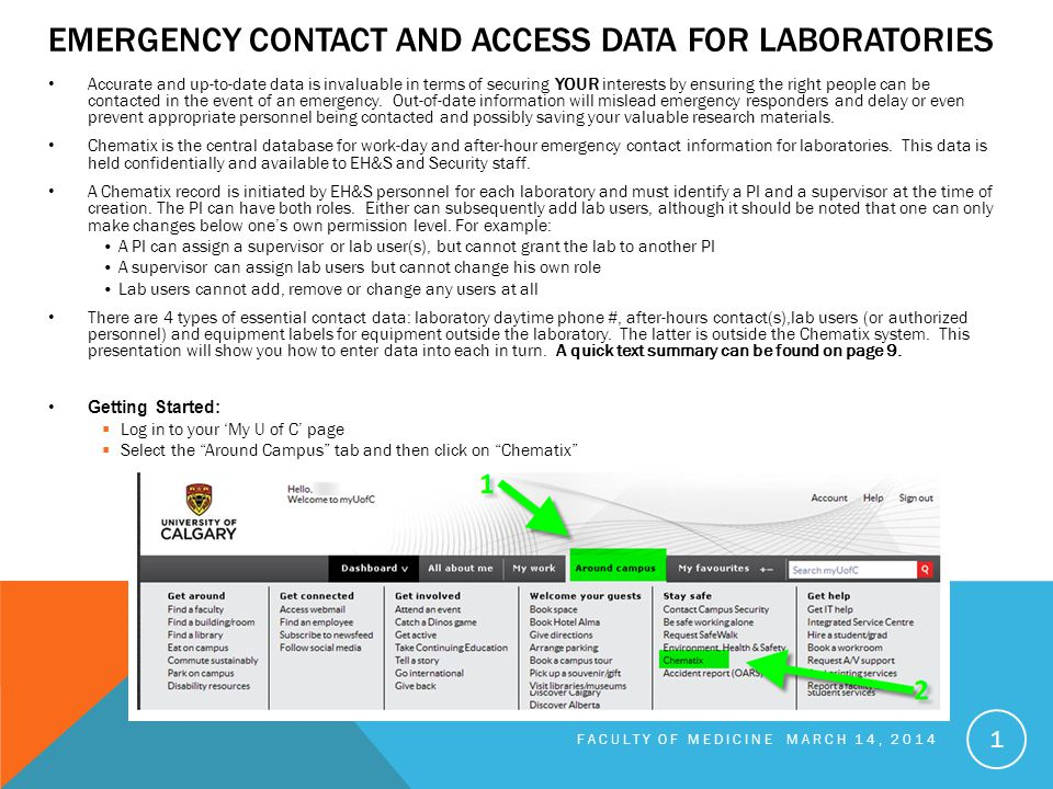 EMERGENCY CONTACT AND ACCESS DATA FOR LABORATORIES Accurate and up-to-date data is invaluable in terms of securing YOUR interests by ensuring the right people can be contacted in the event of an emergency.