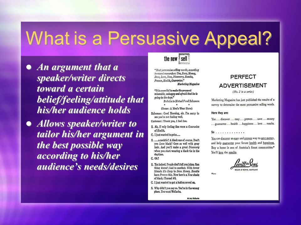 Persuasive Appeals Techniques for Persuading An Audience