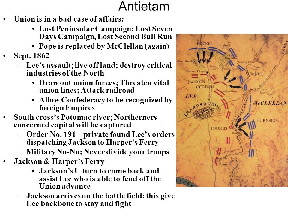 Antietam Union is in a bad case of affairs: Lost Peninsular Campaign; Lost Seven Days Campaign, Lost Second Bull Run Pope is replaced by McClellan (ag