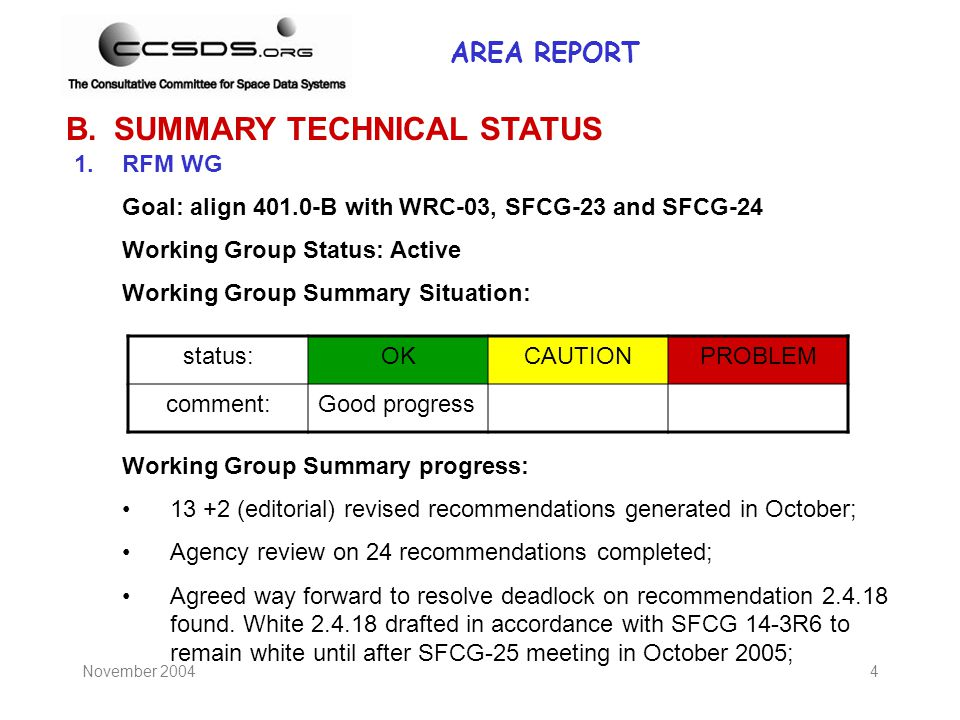 November 20044 B.SUMMARY TECHNICAL STATUS 1.RFM WG Goal: align 401.0-B with WRC-03, SFCG-23 and SFCG-24 Working Group Status: Active Working Group Sum