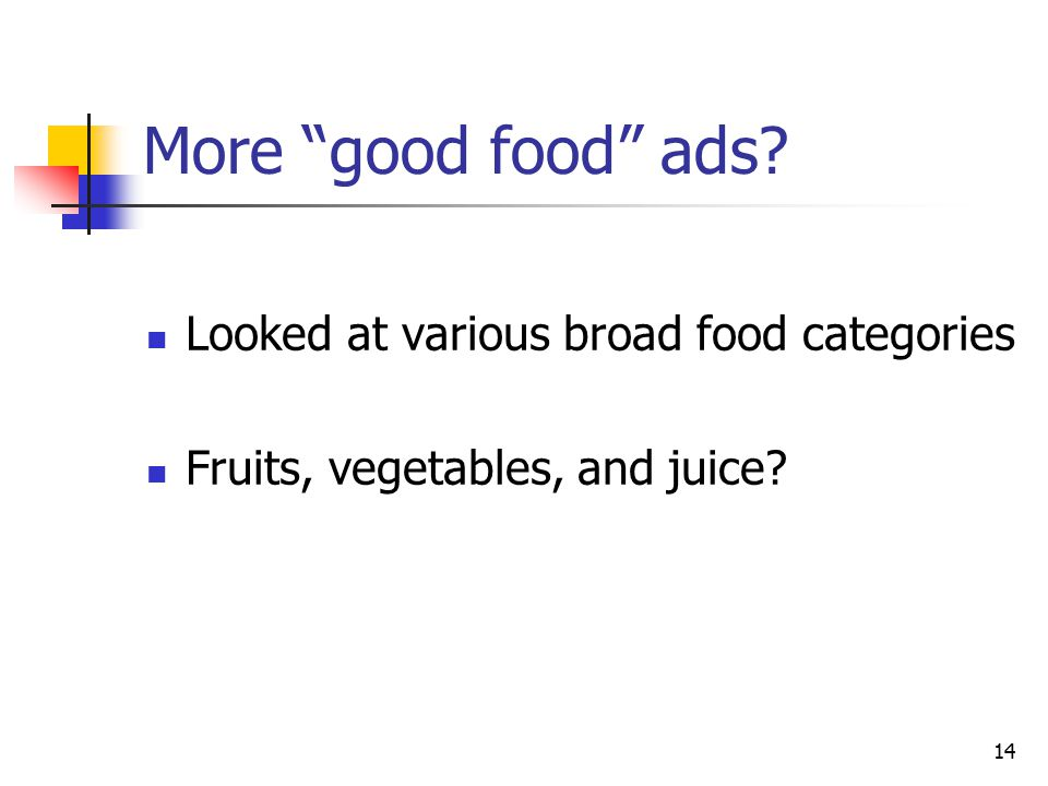 14 More good food ads Looked at various broad food categories Fruits, vegetables, and juice