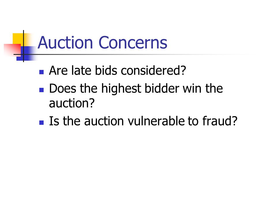 Auction Concerns Are late bids considered. Does the highest bidder win the auction.
