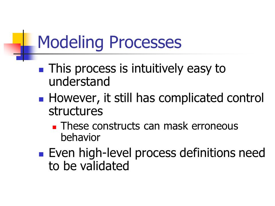 Modeling Processes This process is intuitively easy to understand However, it still has complicated control structures These constructs can mask erroneous behavior Even high-level process definitions need to be validated