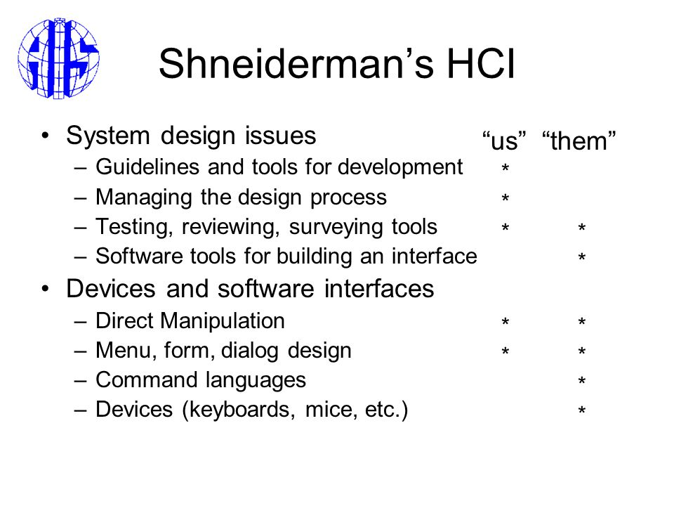 Shneiderman's HCI System design issues –Guidelines and tools for development –Managing the design process –Testing, reviewing, surveying tools –Software tools for building an interface Devices and software interfaces –Direct Manipulation –Menu, form, dialog design –Command languages –Devices (keyboards, mice, etc.) us them * **