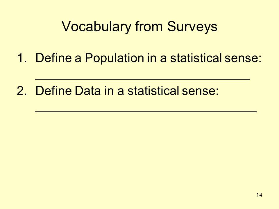 14 Vocabulary from Surveys 1.Define a Population in a statistical sense: _______________________________ 2.Define Data in a statistical sense: _______