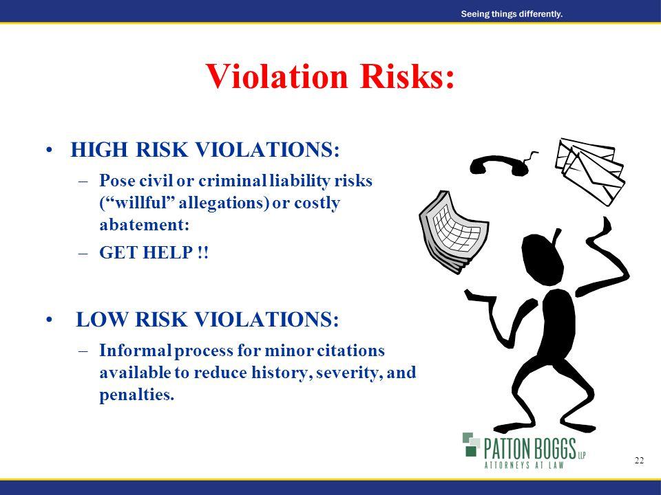 Violation Risks: HIGH RISK VIOLATIONS: –Pose civil or criminal liability risks ( willful allegations) or costly abatement: –GET HELP !.